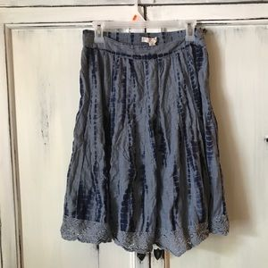 Dark blue earthy tie died skirt